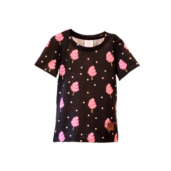 5c99421fa02a Čierne tričko s krátkym rukávom s potlačou cukrovej vaty  )