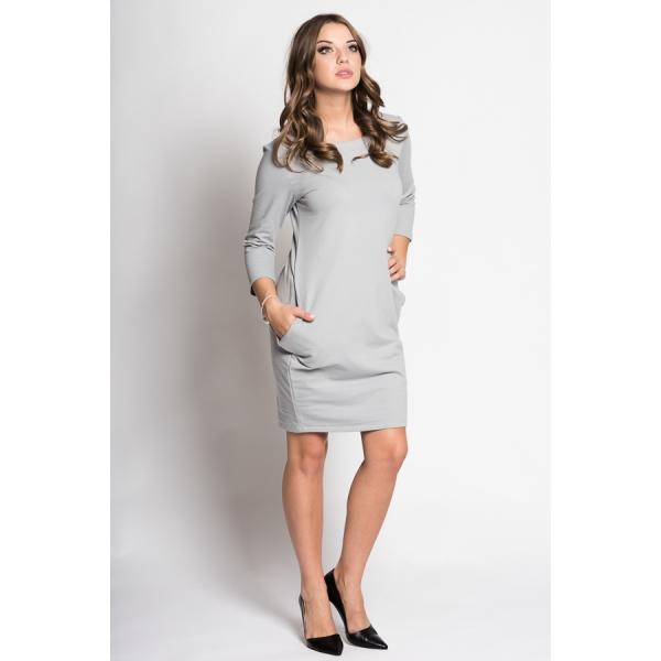 Športovo-elegantné čaty v sivej farbe s vreckami. Šaty majú 3 4 rukáv ... 388ffe4775f